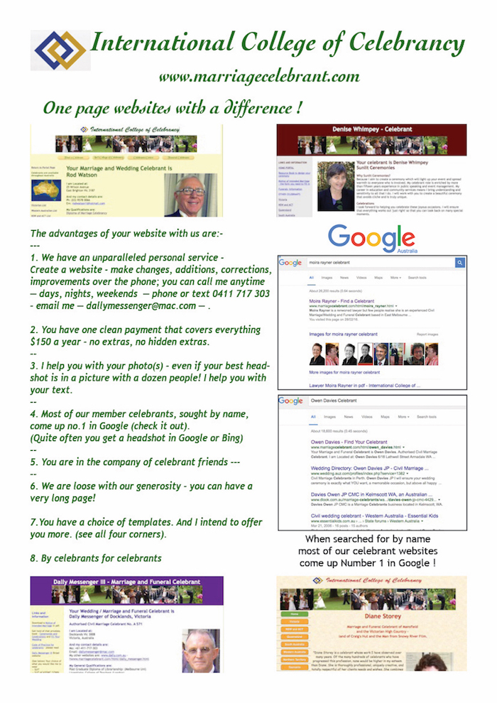 One page websites for celebrants